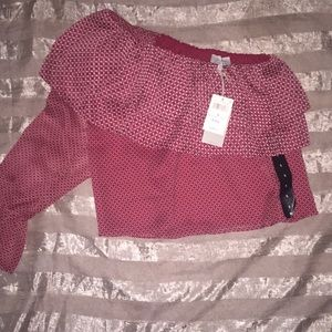 Red lucky brand chiffon 1 shoulder top NWT